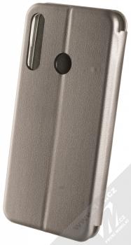 1Mcz Elegance Book flipové pouzdro pro Huawei Y6p kovově šedá (steel) zezadu