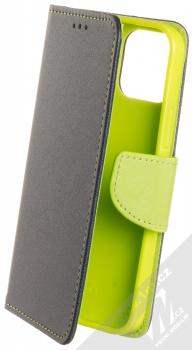 1Mcz Fancy Book flipové pouzdro pro Apple iPhone 12, iPhone 12 Pro modrá limetkově zelená (blue lime)