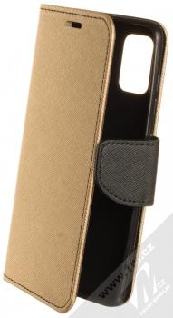 1Mcz Fancy Book flipové pouzdro pro Samsung Galaxy A41 zlatá černá (gold black)
