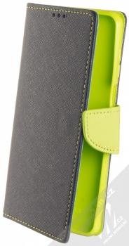 1Mcz Fancy Book flipové pouzdro pro Xiaomi Redmi Note 9 Pro, Redmi Note 9 Pro Max, Redmi Note 9S modrá limetkově zelená (blue lime)