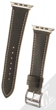 1Mcz Kožený řemínek s přezkou pro Apple Watch 42mm, Watch 44mm černá (black)