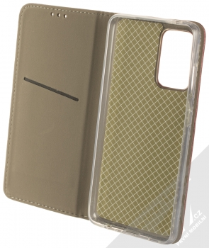 1Mcz Magnetic Book flipové pouzdro pro Samsung Galaxy A52, Galaxy A52 5G tmavě červená (dark red) otevřené