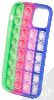 1Mcz Pop It antistresový ochranný kryt pro Apple iPhone 12, iPhone 12 Pro modrá fialová zelená (blue purple green) zepředu