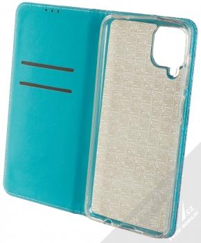 1Mcz Shining Book třpytivé flipové pouzdro pro Samsung Galaxy A12 modrá (blue) otevřené