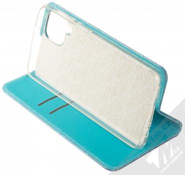 1Mcz Shining Book třpytivé flipové pouzdro pro Samsung Galaxy A12 modrá (blue) stojánek