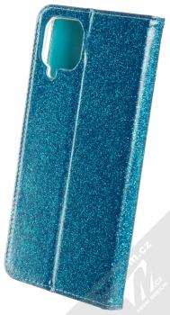 1Mcz Shining Book třpytivé flipové pouzdro pro Samsung Galaxy A12 modrá (blue) zezadu