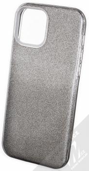 1Mcz Shining Duo TPU třpytivý ochranný kryt pro Apple iPhone 12, iPhone 12 Pro stříbrná černá (silver black)