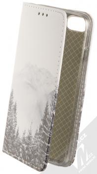 1Mcz Trendy Book Hora a zasněžený les 1 flipové pouzdro pro Apple iPhone 7, iPhone 8, iPhone SE (2020) bílá (white)