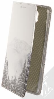 1Mcz Trendy Book Hora a zasněžený les 1 flipové pouzdro pro Xiaomi Redmi Note 9 bílá (white)