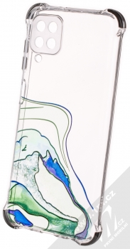 1Mcz Trendy Vodomalba Anti-Shock Skinny TPU ochranný kryt pro Samsung Galaxy A12, Galaxy M12 průhledná zelená černá (transparent green black)