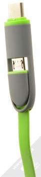 4smarts MultiCord plochý USB kabel s USB Type-C konektorem a microUSB konektorem pro mobilní telefon, mobil, smartphone zelená (green) konektory microUSB a Type-C