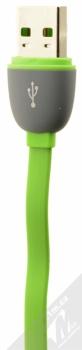 4smarts MultiCord plochý USB kabel s USB Type-C konektorem a microUSB konektorem pro mobilní telefon, mobil, smartphone zelená (green) konektor USB