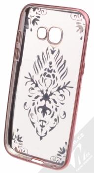 Beeyo Floral pokovený ochranný kryt pro Samsung Galaxy A3 (2017) růžová průhledná (pink transparent) zepředu