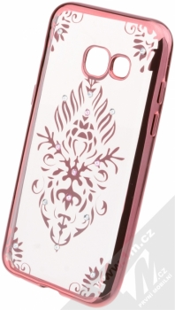 Beeyo Floral pokovený ochranný kryt pro Samsung Galaxy A3 (2017) růžová průhledná (pink transparent)