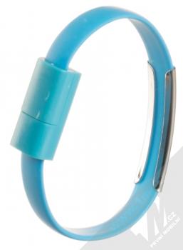 Blue Star Bracelet malý USB kabel s USB Type-C konektorem ve formě náramku na ruku modrá (blue) narámek zezadu