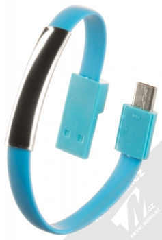 Blue Star Bracelet malý USB kabel s USB Type-C konektorem ve formě náramku na ruku modrá (blue)