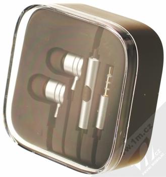 Blue Star Metal MI sluchátka s mikrofonem a ovladačem stříbrná (silver) krabička