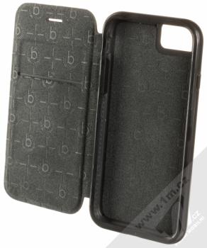 Bugatti Dual Layer Leather Finished Protective Folio Case flipové pouzdro z pravé kůže pro Apple iPhone 7, iPhone 8 černá (black) otevřené