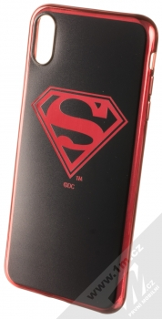 DC Comics Superman 004 TPU pokovený ochranný silikonový kryt s motivem pro Apple iPhone XS Max černá červená (black red chrome)