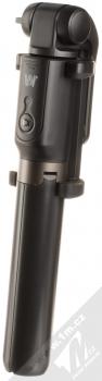 Dispho Selfie Stick Tripod selfie teleskopická tyč a univerzální stativ s bezdrátovým tlačítkem spouště přes Bluetooth černá (black) složené zezadu