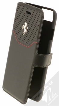 Ferrari Lusso Folio Case flipové pouzdro pro Apple iPhone 7, iPhone 8 (FEHOFLBKP7BKR) černá stříbrná (black silver)