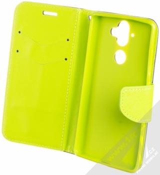 Forcell Fancy Book flipové pouzdro pro Nokia 9 modrá limetkově zelená (blue lime) otevřené