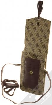 Guess 4G Wallet Universal univerzální pouzdro kabelka s kapsičkami (GUWBSQGBE) hnědá (brown) otevřené