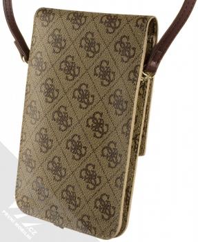 Guess 4G Wallet Universal univerzální pouzdro kabelka s kapsičkami (GUWBSQGBE) hnědá (brown) zezadu