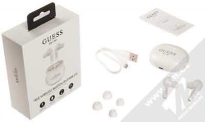 Guess TrueWireless Bluetooth Earbuds módní stereo sluchátka (GUTWS1CWH) bílá (white) balení