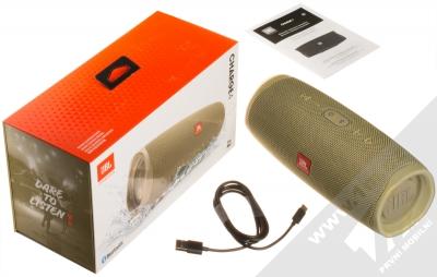 JBL CHARGE 4 voděodolný výkonný Bluetooth reproduktor a záložní zdroj béžová (sand) balení