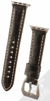 Maikes Crocodile Leather Strap kožený pásek na zápěstí pro Apple Watch 38mm, Watch 40mm černá (black)