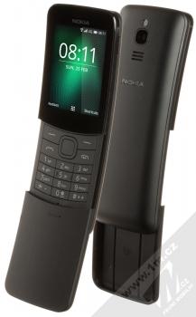 Nokia 8110 4G Dual SIM černá (black) šikmo otevřené