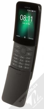 Nokia 8110 4G Dual SIM černá (black) šikmo zepředu otevřené