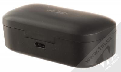 QCY T5 True Wireless Bluetooth stereo sluchátka černá (black) nabíjecí pouzdro zezadu