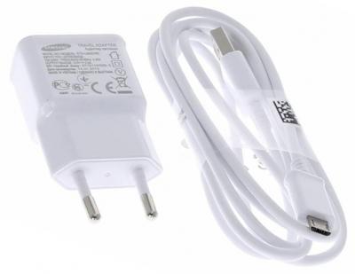 Samsung EP-TA12EWEU originální nabíječka 10W s USB výstupem 2A + Samsung ECB-DU4EWE USB kabel s microUSB konektorem bílá (white) balení