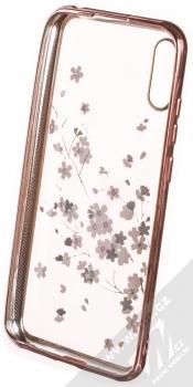 Sligo Flower pokovený ochranný kryt pro Huawei Y6 (2019) růžově zlatá (rose gold) zepředu
