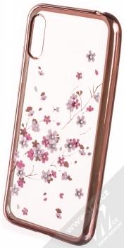Sligo Flower pokovený ochranný kryt pro Huawei Y6 (2019) růžově zlatá (rose gold)