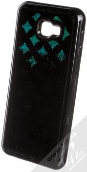 Sligo Liquid Glitter Black Geometric ochranný kryt s přesýpacím efektem třpytek pro Samsung Galaxy J4 Plus (2018) zelená (green) animace 1