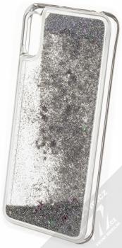 Sligo Liquid Glitter Full ochranný kryt s přesýpacím efektem třpytek pro Huawei Y6 (2019) stříbrná (silver) zezadu