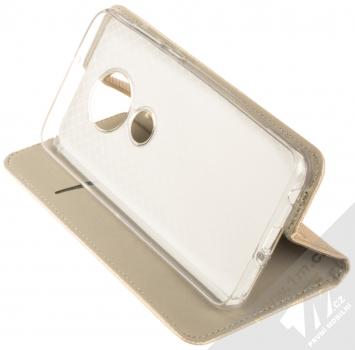 Sligo Smart Magnet flipové pouzdro pro Moto G7 zlatá (gold) stojánek