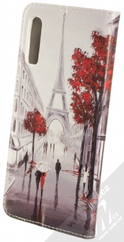 Sligo Smart Trendy Milenci v Paříži 2 flipové pouzdro pro Samsung Galaxy A50, Galaxy A30s šedá červená (grey red) zezadu