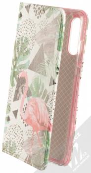 Sligo Smart Trendy Plameňák v džungli flipové pouzdro pro Huawei P30 Lite bílá růžová (white pink)