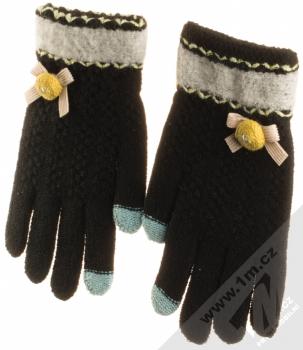 URan Touch Gloves Floret pletené rukavice pro kapacitní dotykový displej černá (black) zepředu