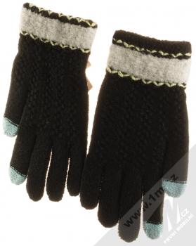 URan Touch Gloves Floret pletené rukavice pro kapacitní dotykový displej černá (black) zezadu