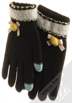 URan Touch Gloves Floret pletené rukavice pro kapacitní dotykový displej černá (black)