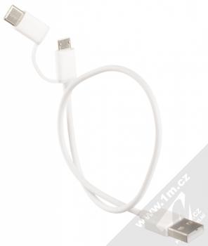 Xiaomi Mi 2-in-1 USB Cable microUSB to Type-C originální USB kabel s microUSB konektorem a USB Type-C konektorem (SJX01ZM) bílá (white) komplet