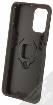 1Mcz Armor Ring odolný ochranný kryt s držákem na prst pro Xiaomi Redmi Note 10, Redmi Note 10S černá (black) zepředu