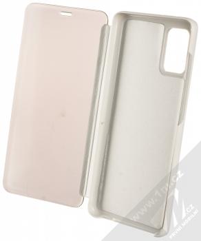1Mcz Clear View flipové pouzdro pro Samsung Galaxy A31, Galaxy A51, Galaxy A51 5G stříbrná (silver) otevřené