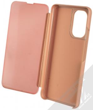 1Mcz Clear View flipové pouzdro pro Xiaomi Poco F3 růžová (pink) otevřené