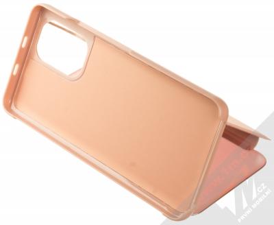 1Mcz Clear View flipové pouzdro pro Xiaomi Poco F3 růžová (pink) stojánek